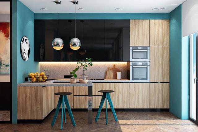 Ngắm phòng bếp được thiết kế lung linh với màu xanh dương - Ảnh 1.