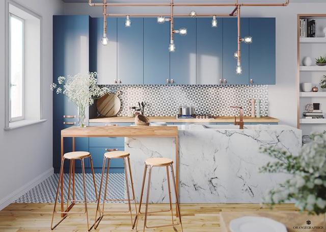 Ngắm phòng bếp được thiết kế lung linh với màu xanh dương - Ảnh 2.