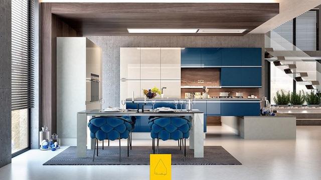 Ngắm phòng bếp được thiết kế lung linh với màu xanh dương - Ảnh 3.