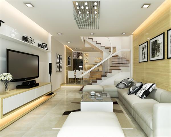 Những ý tưởng thiết kế nội thất phòng khách nhà ống năm 2019 - Ảnh 2.